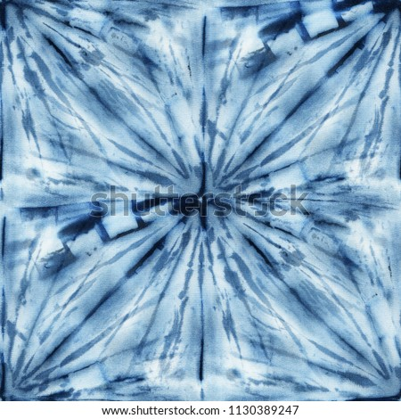 521898d15c2b Seamless tie-dye pattern of indigo color on white silk. Hand painting  fabrics -