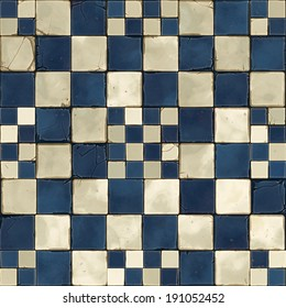 A seamless tile of mosaics in blue and white.  They are dirty and cracked.