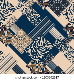 Seamless tile ornamental patchwork abstract pattern background