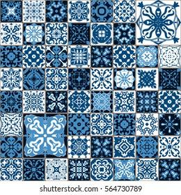 Seamless tile pattern. Colorful lisbon, mediterranean floral ornament pattern. Square flower blue mosaic. Islam, Arabic, Indian, Turkish, Pakistan, Chinese Moroccan, Portuguese Ottoman motifs.