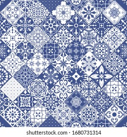 Seamless tiles background in portuguese style. Mosaic pattern for ceramic in dutch, portuguese, spanish, italian style. Raster version.