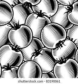Seamless tomato background black and white