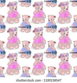 a seamless toy pattern, a teddy bear with a ukulele and a bear cub with a wreath on its head