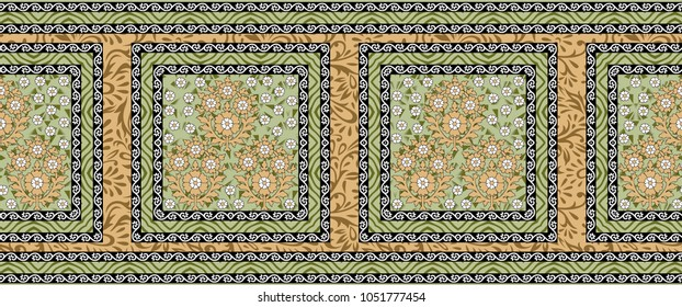 Seamless traditional  floral border
