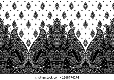 Seamless traditional indian black and white peacock border