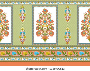 seamless traditional  indian  floral motif frame  border