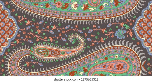 Seamless traditional Indian paisley border