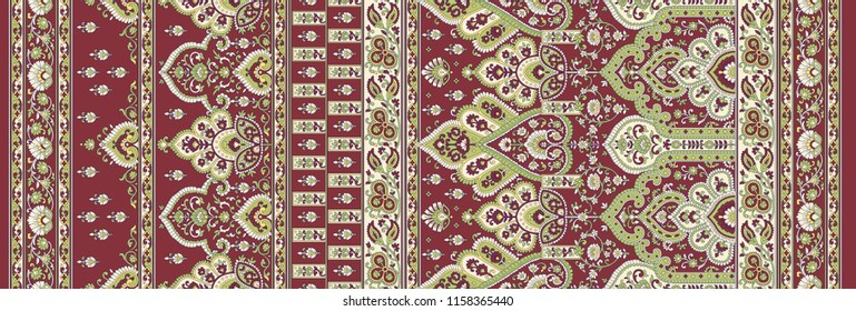 seamless traditional  indian paisley  motif sari border