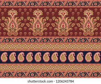 Seamless Traditional Paisley Indian motif