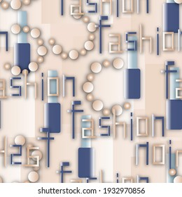 Seamless trendy background with nail polish and beads, word fashion.