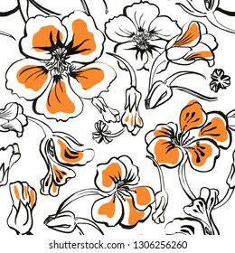 Seamless trendy bold floral  hand drawn pattern with sketchy outlined black and white and orange capers flowers and buds. Nasturtium plant. Unfinished freehand  botanical ink drawing .  Hawaii style.