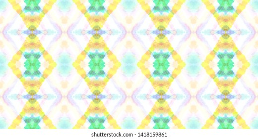Seamless Tribal Pattern. Geometric Ethnic Background. Portuguese Green and Yellow Tie Dye Texture. Batik Vintage Kaftan Design. Watercolor Tribal Pattern.
