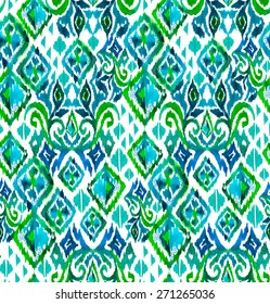 seamless tribal pattern with ikat motives. very detailed mosaic design with mixed elements and textures. latino ceramics style.