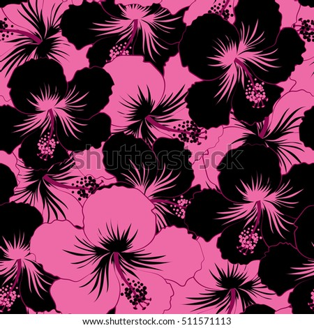Seamless tropical design hibiscus black pink stock illustration seamless tropical design with hibiscus in black and pink colors exotic flowers in allover composition mightylinksfo