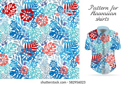 Seamless tropical floral background.  Hawaiian exotic flowers pattern on shirt mockup. Blue red colors backdrop.