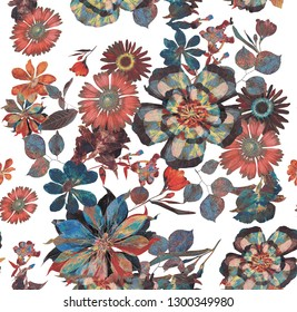 Seamless Tropical Floral Pattern for Textile Print for printed fabric design for Womenswear, underwear, activewear kidswear and menswear and Decorative Home Design, Wallpaper Print
