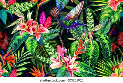 Seamless tropical floral pattern. Watercolour exotic leaves, flowers and a hummingbird, on leopard spots background. Textile design.
