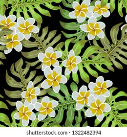 Seamless tropical flower. Tropical flowers and jungle palms. Beautiful fabric pattern with a tropical flowers over background. Blossom plumeria for seamless pattern background