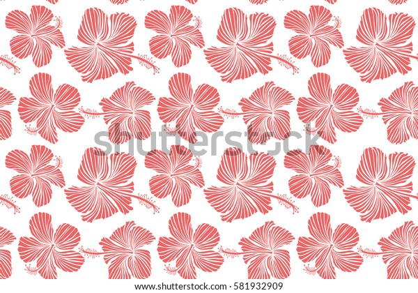 Seamless tropical flower, hibiscus pattern. Raster illustration in pink colors on a white background.