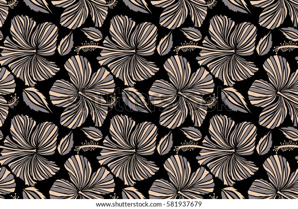 Seamless tropical flower, hibiscus pattern. Raster illustration in gray and beige colors on a black background.