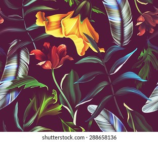 Seamless tropical flower, plant and leaf pattern background
