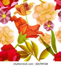 Seamless tropical flower, plant pattern background. Hawaiian, californian, florida summer style