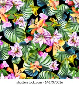 Seamless tropical flowers and foliage background.