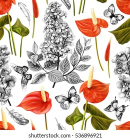 Seamless tropical flowers pattern with butterflies and feathers. Bright plant and leaf background in vintage botanical style. Colorful illustration.