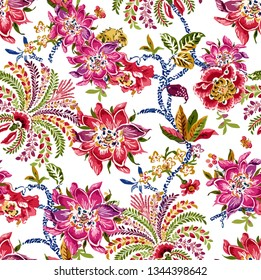 Seamless Tropical Flowers Pattern for Textile Print for printed fabric design for Womenswear, underwear, activewear kidswear and menswear and Decorative Home Design, Wallpaper Print