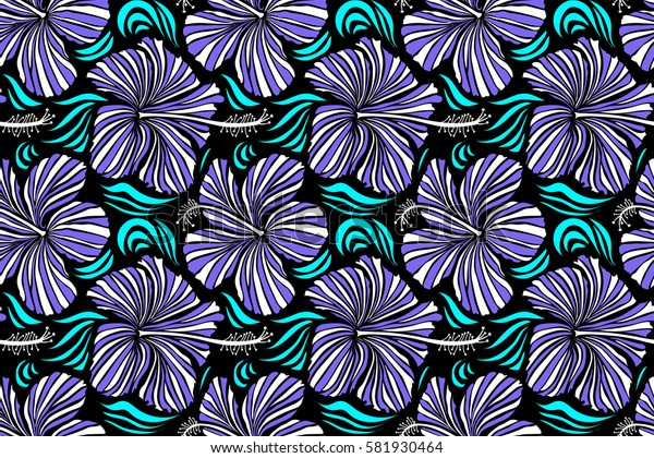 Seamless tropical flowers in white and violet colors. Hibiscus pattern on a black background.