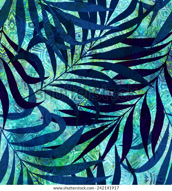 seamless tropical foliage pattern. exotic palm leaves on a tribal background.