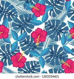 seamless tropical leaves and flowers - monstera and hibiscus. bitmap