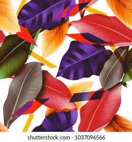 Seamless tropical leaves and flowers pattern, jungle print design. Fashion trended tropical background. Vibrant Hi Quality botanical artwork.