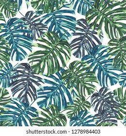 Seamless tropical monstera leaves and flowers pattern, jungle print design. Pattern on whitebackground. Fashion trended tropical background.