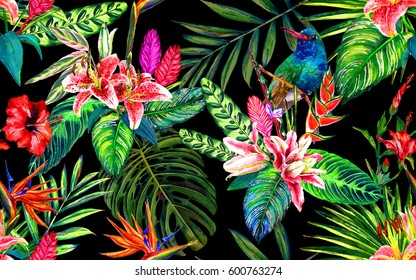 Seamless tropical paradise floral pattern. Hand painted watercolor exotic leaves, flowers and a hummingbird, on black background. Botanical print. Textile design.