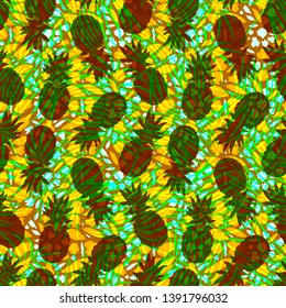seamless tropical pattern in African style, pineapples and palm leaves on an abstract background, imitation of leopard skins, sultry summer print