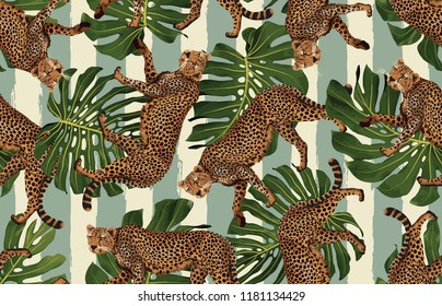 Seamless tropical pattern background with cheetahs and tropical leaves. Exotic wallpaper, digital paper, raster illustration in vintage Hawaiian style.