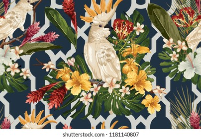 Seamless tropical pattern background with tropical flowers and cockatoo bird. Tropicana wallpaper, digital paper, raster illustration in vintage Hawaiian style.