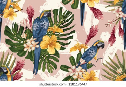Seamless tropical pattern background with tropical flowers, blue and yellow macaw and flamingo. Tropical illustration in vintage Hawaiian style.