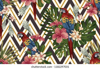 Seamless tropical pattern background with tropical flowers, red scarlet macaw and flamingo. Tropical illustration in vintage Hawaiian style.