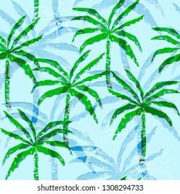 seamless tropical pattern of banana palms