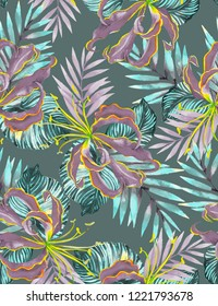Seamless tropical pattern in camouflage colors. Fire lily, monstera, palm leaves. Intricate watercolor illustration. Botanical pattern.