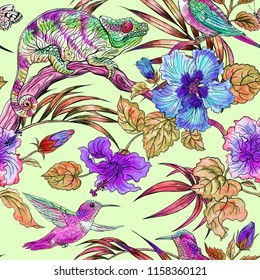 Seamless tropical pattern with chameleon, hummingbird, hibiscus and palm leaves, hand drawing.
