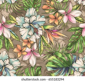 seamless tropical pattern with classic elements: mosnstera, palm, hibiscus, bird pf paradise, plumeria, palm. Vintage style warm colors, detailed botanical illustration. multi layered layout.