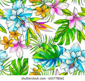 seamless tropical pattern with classic elements: monstera, palm, hibiscus, bird pf paradise, plumeria, palm. happy colorful layout on white background.