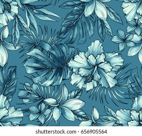seamless tropical pattern with classic elements: monstera, palm, hibiscus, bird pf paradise, plumeria, palm. Jeans indigo monochrome color, beautiful illustrations.