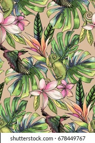 seamless tropical pattern with humming bird, lizard and exotic flowers - palms, monstera, plumeria. colorful textile design.