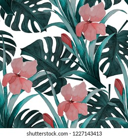 Seamless tropical pattern with iris flowers and exotic leaves. Watercolor. Hand paint.