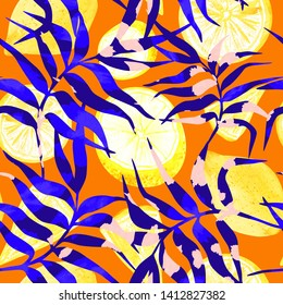 Seamless tropical pattern of palm leaves and fruits, blue tropical leaves and yellow citruses on a sultry orange background. Perfect for textile, wallpapers, wrapping paper, phone case.
