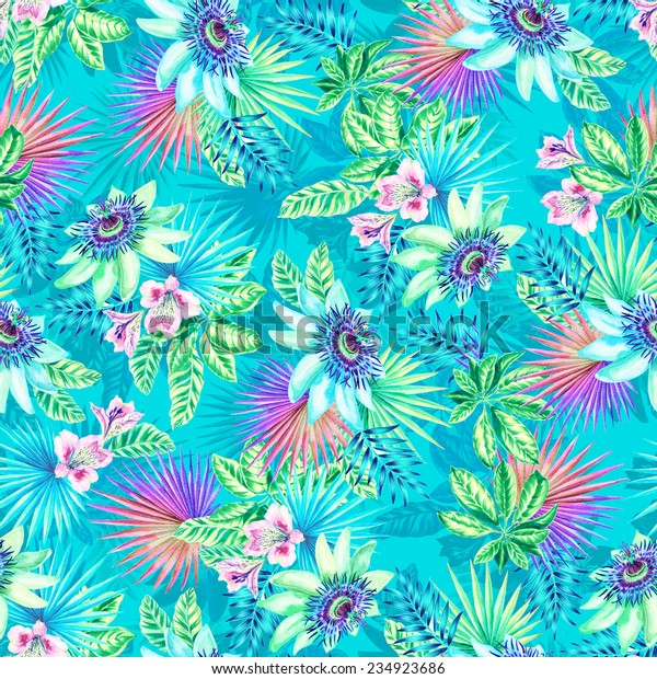 seamless tropical pattern with  passion fruit flowers.
